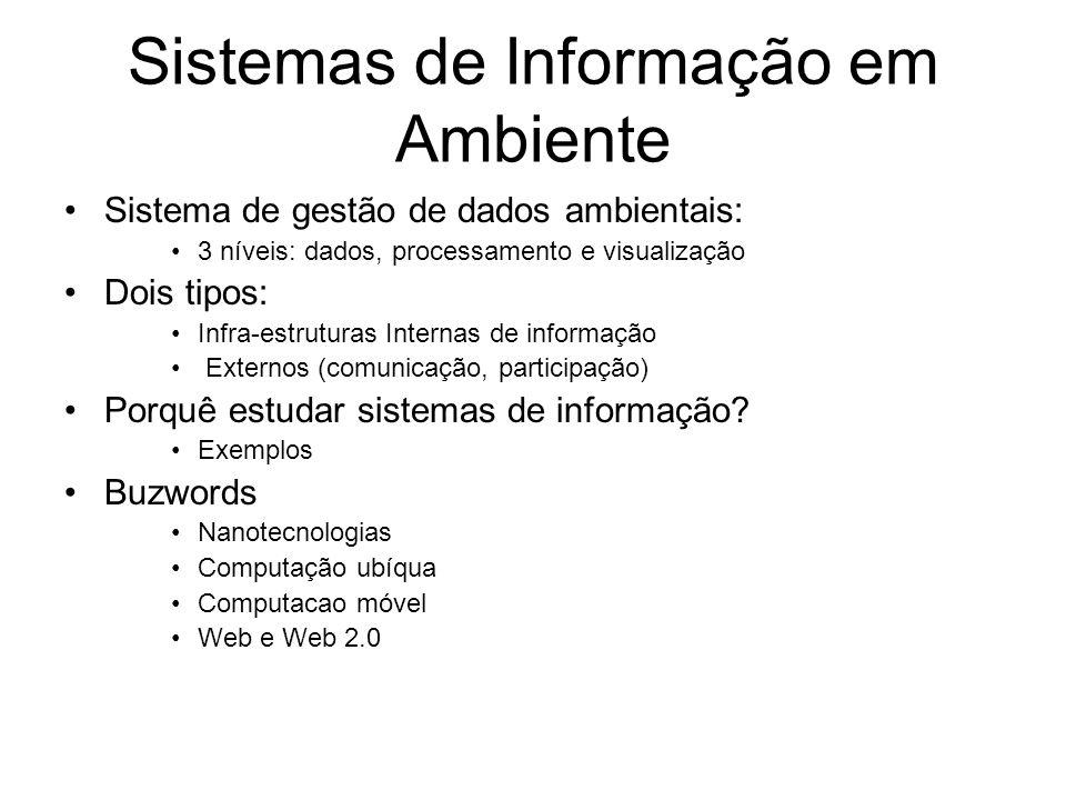 Sistemas de Informação em Ambiente Sistema de gestão de dados ambientais: 3 níveis: dados, processamento e visualização Dois tipos: Infra-estruturas I