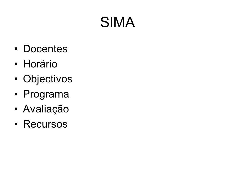SIMA Docentes Horário Objectivos Programa Avaliação Recursos
