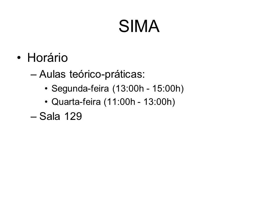 SIMA Horário –Aulas teórico-práticas: Segunda-feira (13:00h - 15:00h) Quarta-feira (11:00h - 13:00h) –Sala 129