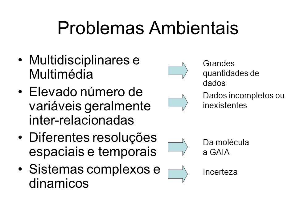 Problemas Ambientais Multidisciplinares e Multimédia Elevado número de variáveis geralmente inter-relacionadas Diferentes resoluções espaciais e tempo