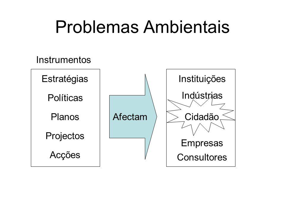 Problemas Ambientais Políticas Planos Estratégias Projectos Acções Afectam Instituições Empresas Indústrias Cidadão Consultores Instrumentos