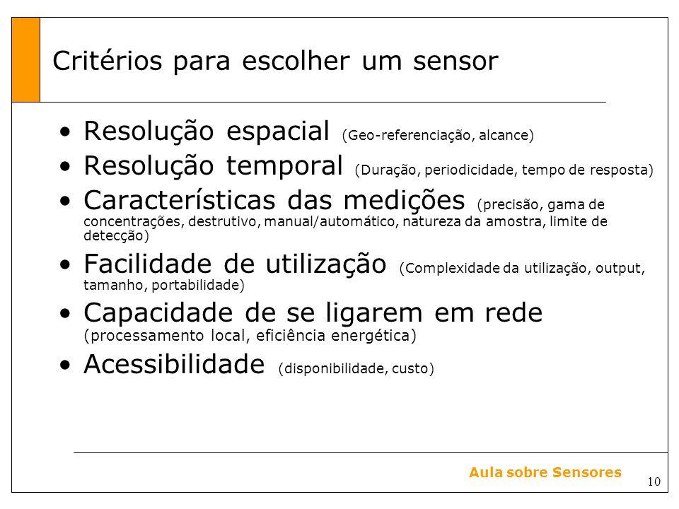 10 Aula sobre Sensores Critérios para escolher um sensor Resolução espacial (Geo-referenciação, alcance) Resolução temporal (Duração, periodicidade, tempo de resposta) Características das medições (precisão, gama de concentrações, destrutivo, manual/automático, natureza da amostra, limite de detecção) Facilidade de utilização (Complexidade da utilização, output, tamanho, portabilidade) Capacidade de se ligarem em rede (processamento local, eficiência energética) Acessibilidade (disponibilidade, custo)
