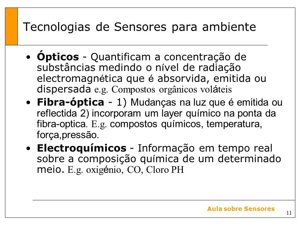 11 Aula sobre Sensores Tecnologias de Sensores para ambiente Ópticos - Quantificam a concentração de substâncias medindo o n í vel de radiação electromagn é tica que é absorvida, emitida ou dispersada e.g.