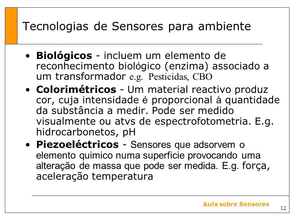 12 Aula sobre Sensores Tecnologias de Sensores para ambiente Biológicos - incluem um elemento de reconhecimento biol ó gico (enzima) associado a um transformador e.g.