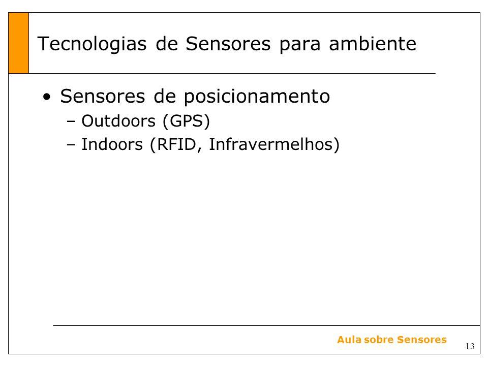 13 Aula sobre Sensores Tecnologias de Sensores para ambiente Sensores de posicionamento –Outdoors (GPS) –Indoors (RFID, Infravermelhos)
