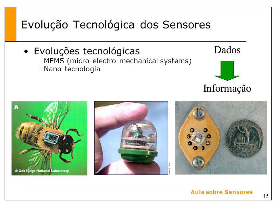 15 Aula sobre Sensores Evolução Tecnológica dos Sensores Evoluções tecnológicas –MEMS (micro-electro-mechanical systems) –Nano-tecnologia Dados Informação