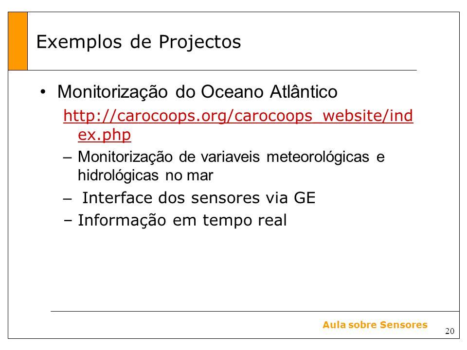 20 Aula sobre Sensores Exemplos de Projectos Monitorização do Oceano Atlântico http://carocoops.org/carocoops_website/ind ex.php –Monitorização de variaveis meteorológicas e hidrológicas no mar – Interface dos sensores via GE –Informação em tempo real