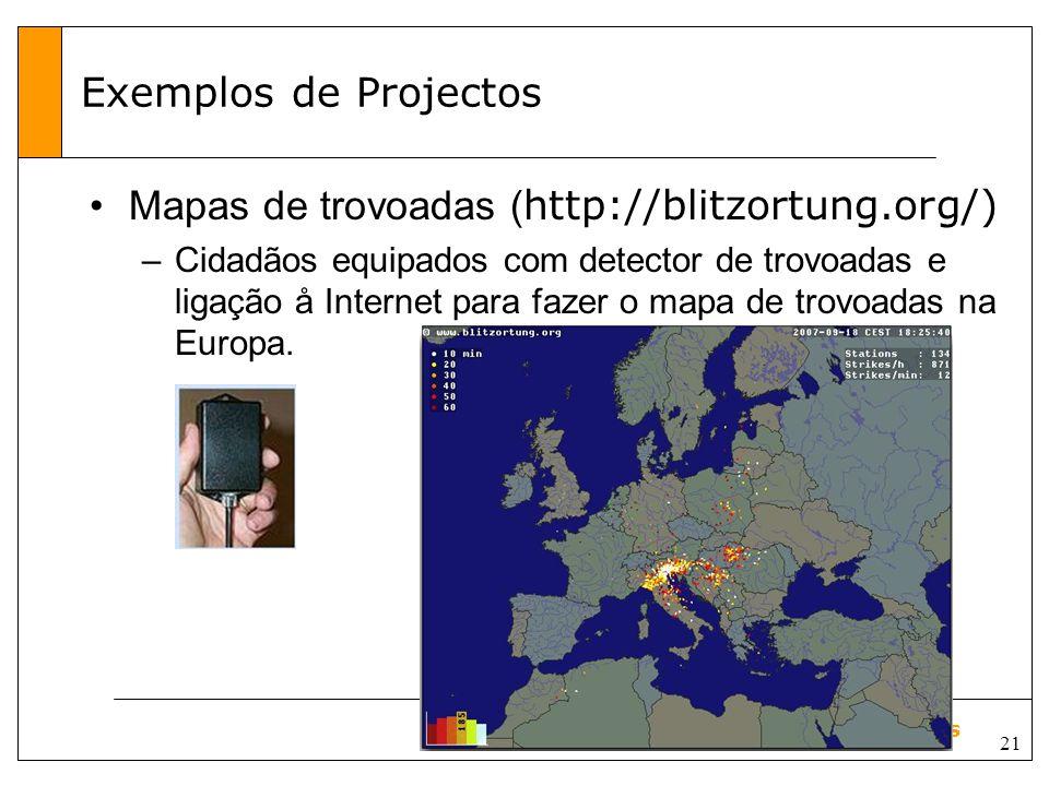 21 Aula sobre Sensores Exemplos de Projectos Mapas de trovoadas ( http://blitzortung.org/) –Cidadãos equipados com detector de trovoadas e ligação å Internet para fazer o mapa de trovoadas na Europa.