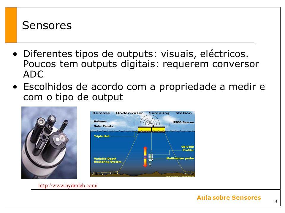3 Aula sobre Sensores Sensores Diferentes tipos de outputs: visuais, eléctricos.