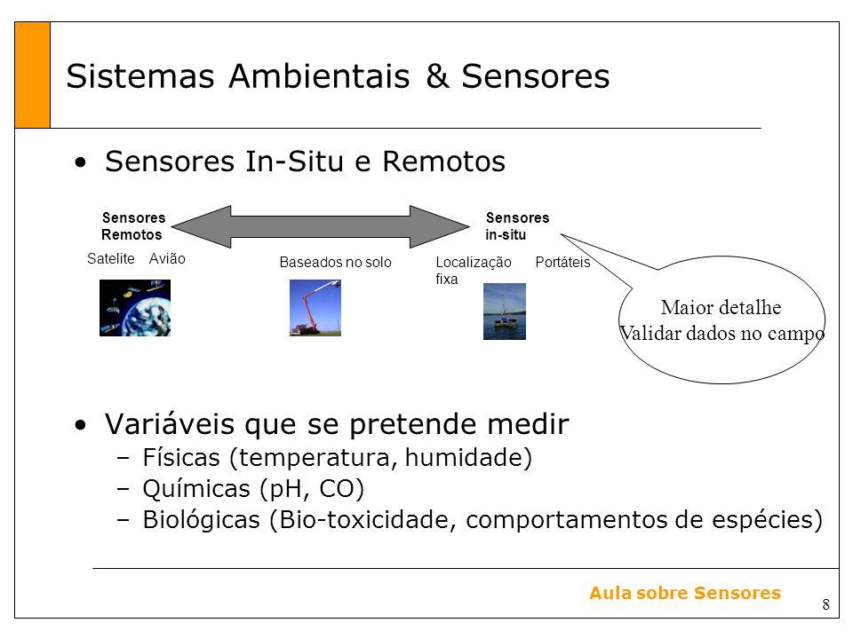 8 Aula sobre Sensores Sensores In-Situ e Remotos Variáveis que se pretende medir –Físicas (temperatura, humidade) –Químicas (pH, CO) –Biológicas (Bio-toxicidade, comportamentos de espécies) Maior detalhe Validar dados no campo Sistemas Ambientais & Sensores Sensores Remotos Sensores in-situ SateliteAvião Baseados no soloPortáteisLocalização fixa