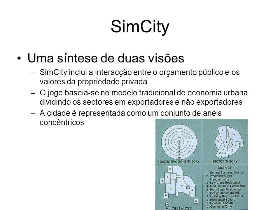 SimCity Uma síntese de duas visões –SimCity inclui a interacção entre o orçamento público e os valores da propriedade privada –O jogo baseia-se no modelo tradicional de economia urbana dividindo os sectores em exportadores e não exportadores –A cidade é representada como um conjunto de anéis concêntricos