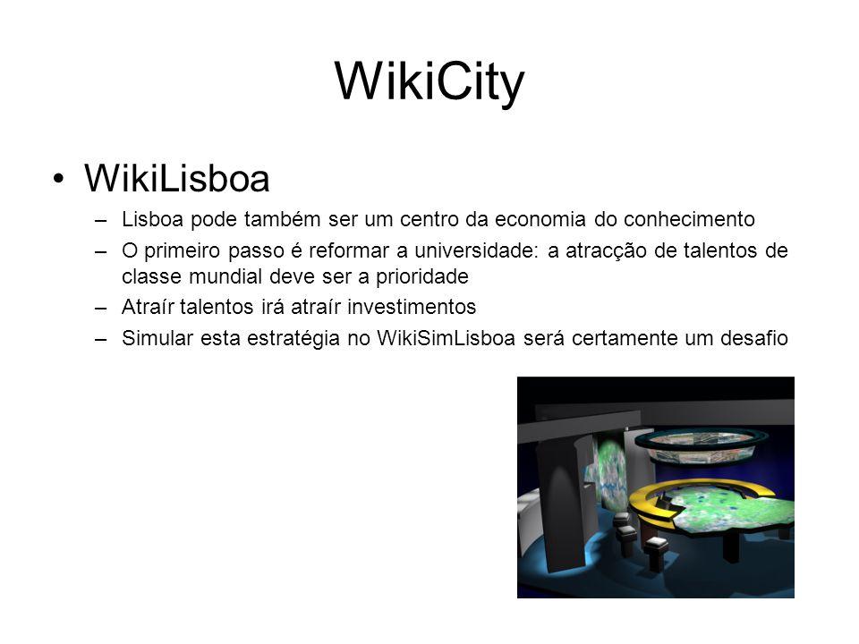 WikiCity WikiLisboa –Lisboa pode também ser um centro da economia do conhecimento –O primeiro passo é reformar a universidade: a atracção de talentos de classe mundial deve ser a prioridade –Atraír talentos irá atraír investimentos –Simular esta estratégia no WikiSimLisboa será certamente um desafio