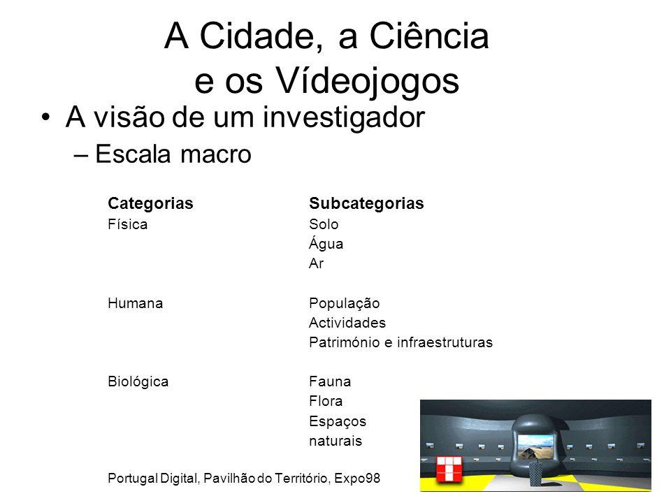 A Cidade, a Ciência e os Vídeojogos A visão de um investigador –Escala macro CategoriasSubcategorias FísicaSolo Água Ar HumanaPopulação Actividades Património e infraestruturas BiológicaFauna Flora Espaços naturais Portugal Digital, Pavilhão do Território, Expo98