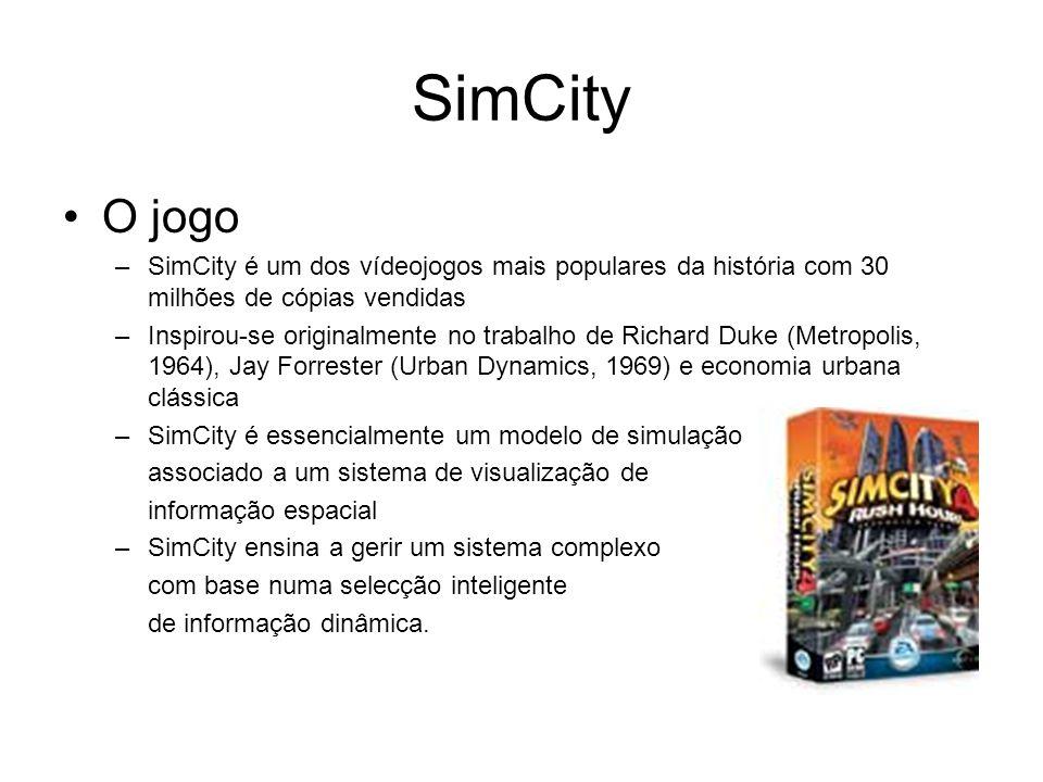 SimCity O jogo –SimCity é um dos vídeojogos mais populares da história com 30 milhões de cópias vendidas –Inspirou-se originalmente no trabalho de Richard Duke (Metropolis, 1964), Jay Forrester (Urban Dynamics, 1969) e economia urbana clássica –SimCity é essencialmente um modelo de simulação associado a um sistema de visualização de informação espacial –SimCity ensina a gerir um sistema complexo com base numa selecção inteligente de informação dinâmica.