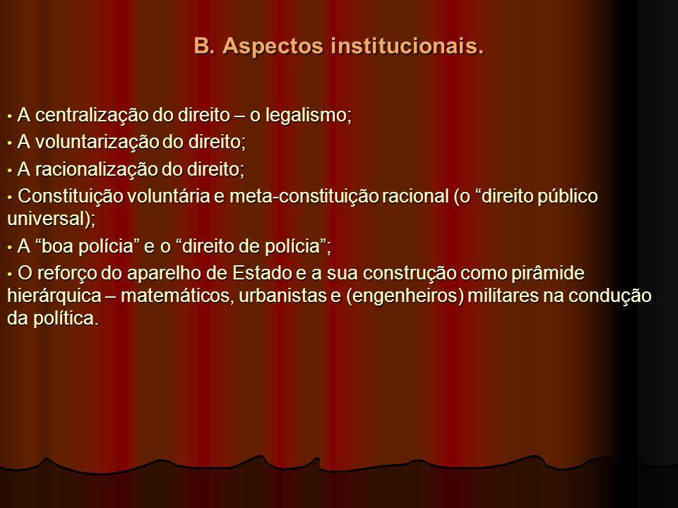 B. Aspectos institucionais. A centralização do direito – o legalismo; A centralização do direito – o legalismo; A voluntarização do direito; A volunta