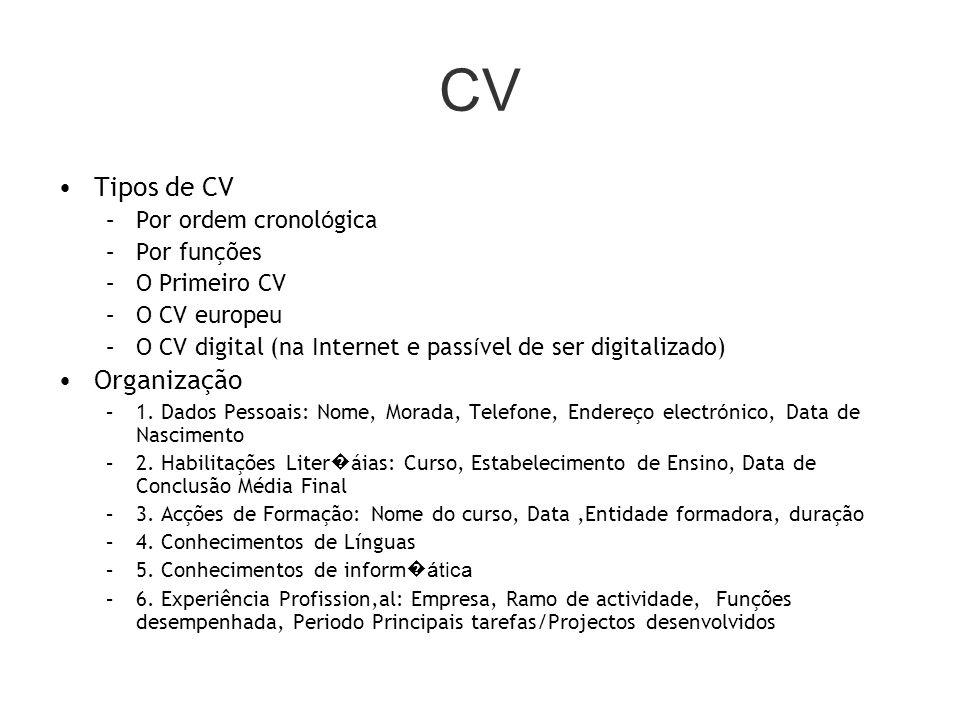 CV Tipos de CV –Por ordem cronol ó gica –Por funções –O Primeiro CV –O CV europeu –O CV digital (na Internet e pass í vel de ser digitalizado) Organização –1.