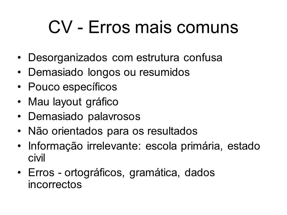 CV - Erros mais comuns Desorganizados com estrutura confusa Demasiado longos ou resumidos Pouco específicos Mau layout gráfico Demasiado palavrosos Nã