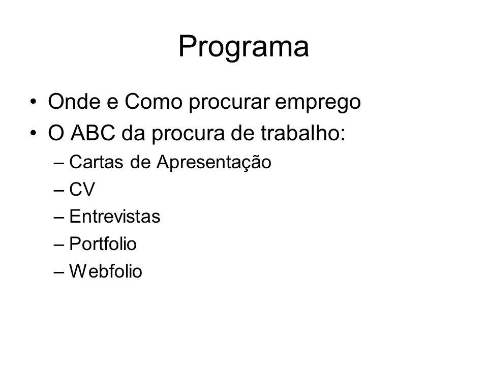Programa Onde e Como procurar emprego O ABC da procura de trabalho: –Cartas de Apresentação –CV –Entrevistas –Portfolio –Webfolio