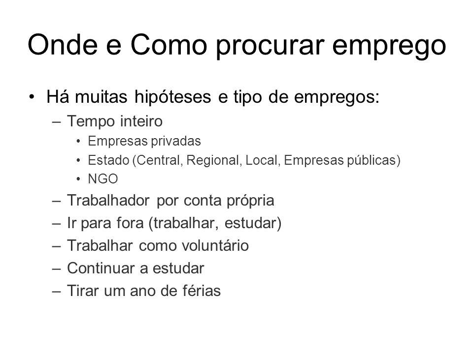 Onde e Como procurar emprego Há muitas hipóteses e tipo de empregos: –Tempo inteiro Empresas privadas Estado (Central, Regional, Local, Empresas públi