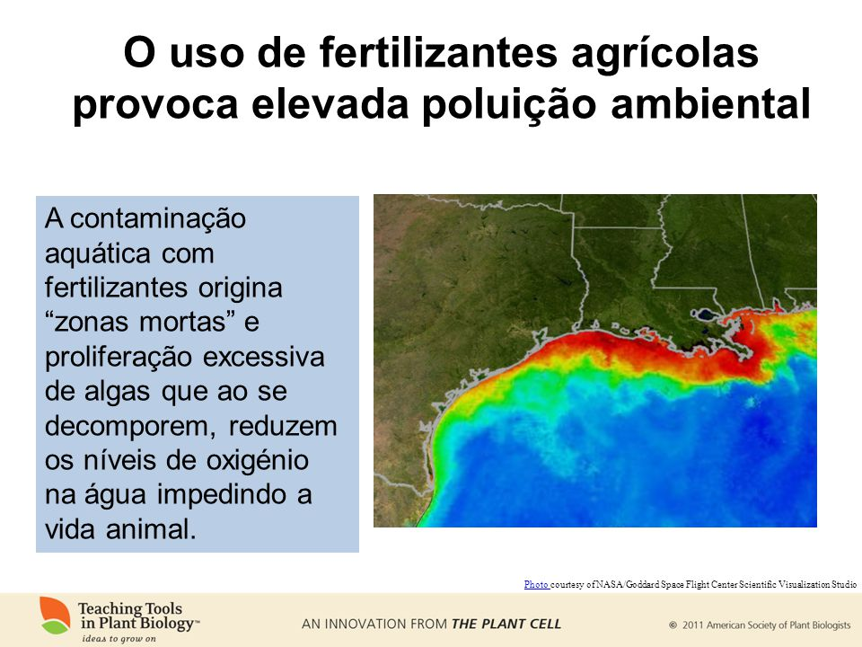 O uso de fertilizantes agrícolas provoca elevada poluição ambiental Photo Photo courtesy of NASA/Goddard Space Flight Center Scientific Visualization