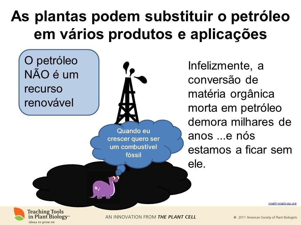 As plantas podem substituir o petróleo em vários produtos e aplicações O petróleo NÃO é um recurso renovável creativecartoons.org creativecartoons.org.