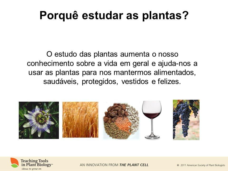Porquê estudar as plantas? O estudo das plantas aumenta o nosso conhecimento sobre a vida em geral e ajuda-nos a usar as plantas para nos mantermos al
