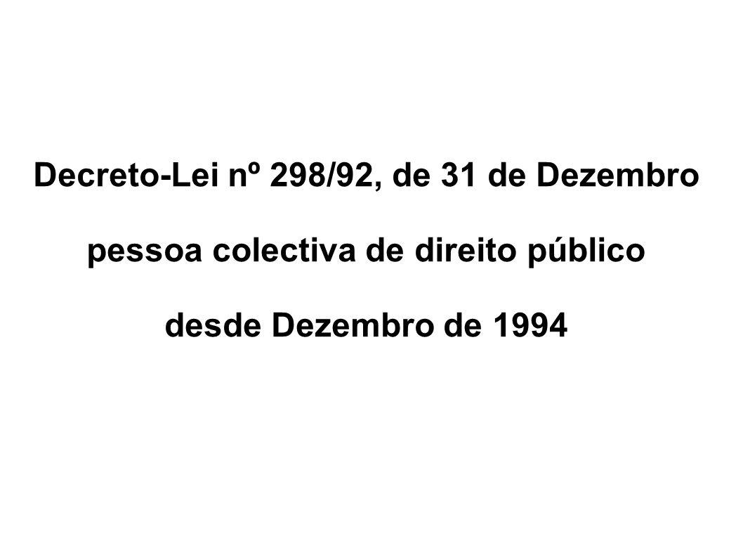 Decreto-Lei nº 298/92, de 31 de Dezembro pessoa colectiva de direito público desde Dezembro de 1994