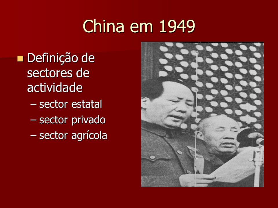 China em 1949 Definição de sectores de actividade Definição de sectores de actividade –sector estatal –sector privado –sector agrícola