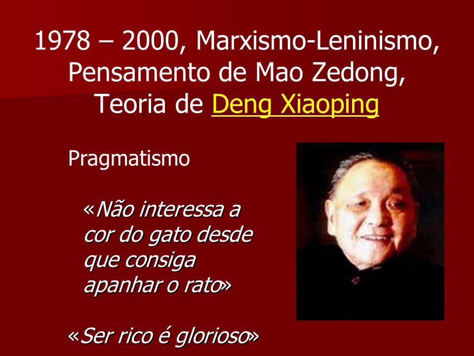 1978 – 2000, Marxismo-Leninismo, Pensamento de Mao Zedong, Teoria de Deng Xiaoping Pragmatismo «Não interessa a cor do gato desde que consiga apanhar