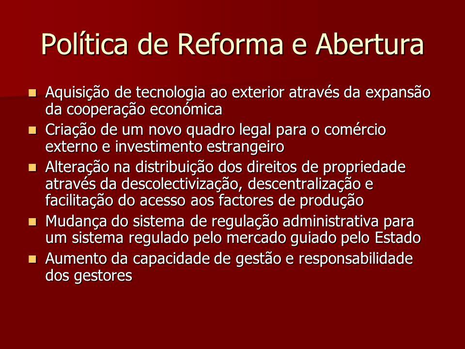 Política de Reforma e Abertura Aquisição de tecnologia ao exterior através da expansão da cooperação económica Aquisição de tecnologia ao exterior atr