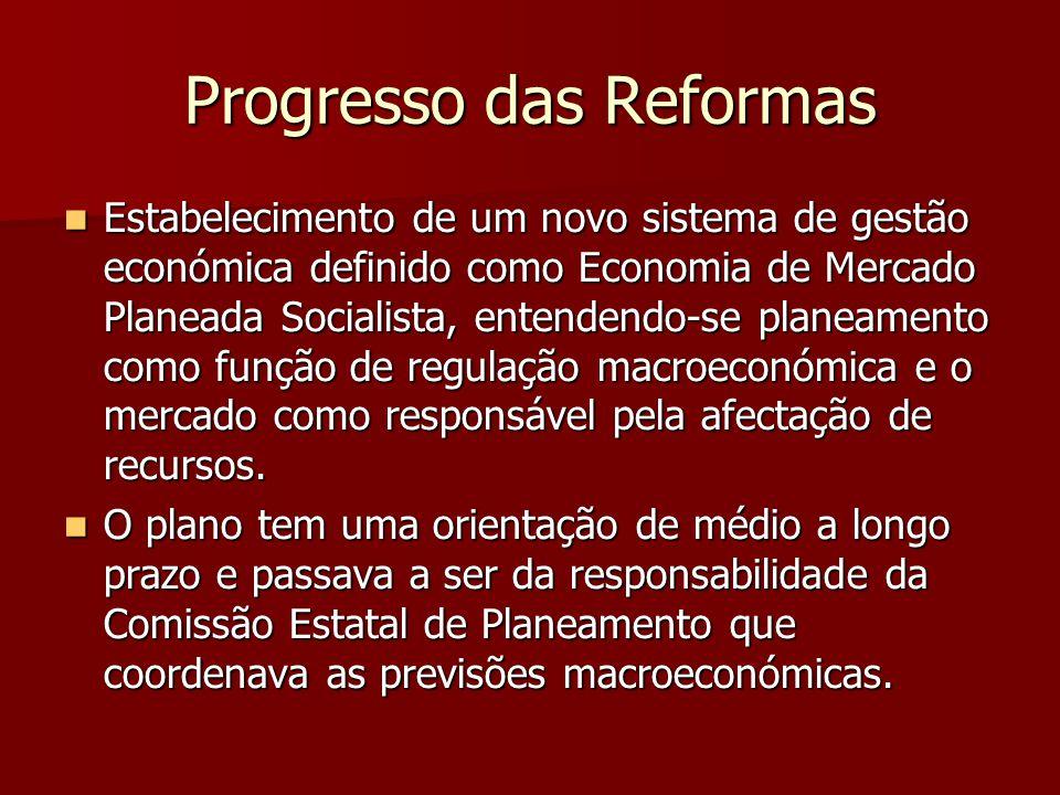 Progresso das Reformas Estabelecimento de um novo sistema de gestão económica definido como Economia de Mercado Planeada Socialista, entendendo-se pla