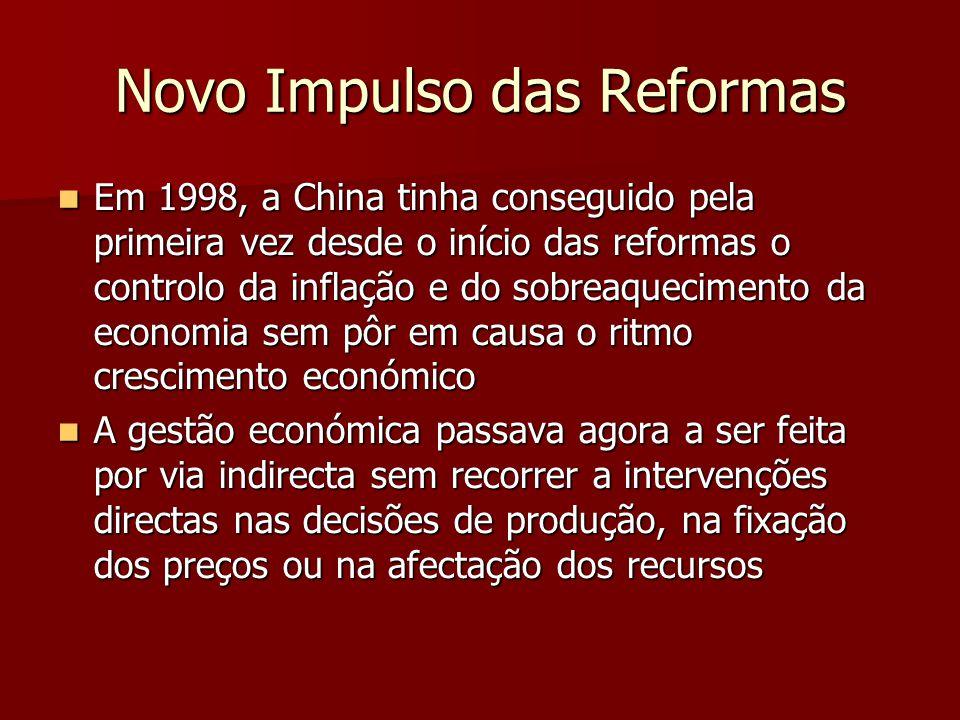 Novo Impulso das Reformas Em 1998, a China tinha conseguido pela primeira vez desde o início das reformas o controlo da inflação e do sobreaquecimento