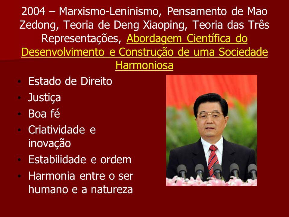 2004 – Marxismo-Leninismo, Pensamento de Mao Zedong, Teoria de Deng Xiaoping, Teoria das Três Representações, Abordagem Científica do Desenvolvimento