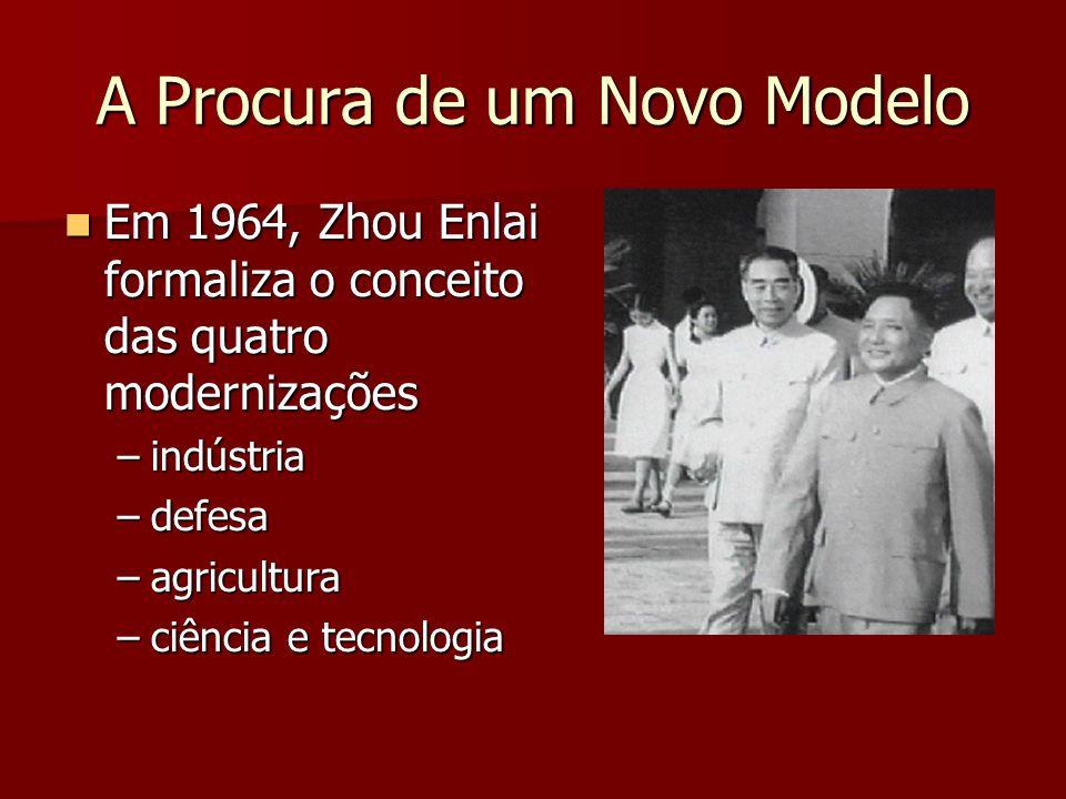 A Procura de um Novo Modelo Em 1964, Zhou Enlai formaliza o conceito das quatro modernizações Em 1964, Zhou Enlai formaliza o conceito das quatro modernizações –indústria –defesa –agricultura –ciência e tecnologia