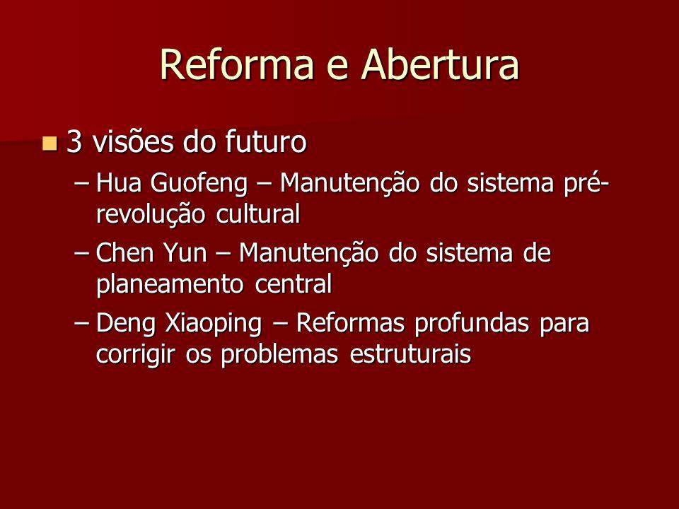 Reforma e Abertura 3 visões do futuro 3 visões do futuro –Hua Guofeng – Manutenção do sistema pré- revolução cultural –Chen Yun – Manutenção do sistema de planeamento central –Deng Xiaoping – Reformas profundas para corrigir os problemas estruturais
