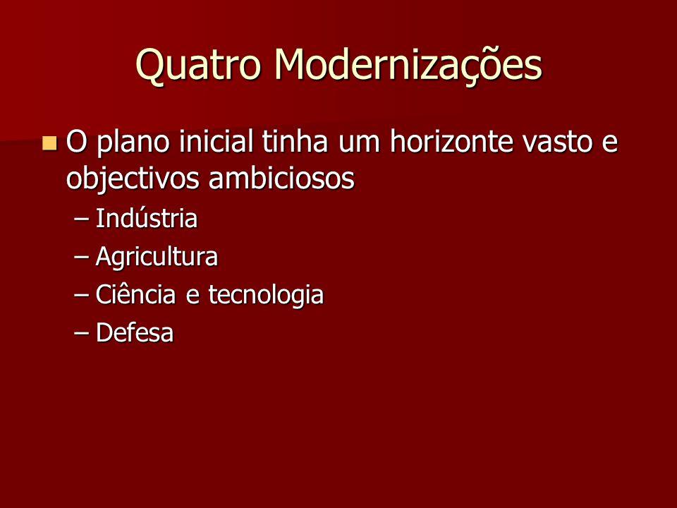Quatro Modernizações O plano inicial tinha um horizonte vasto e objectivos ambiciosos O plano inicial tinha um horizonte vasto e objectivos ambiciosos –Indústria –Agricultura –Ciência e tecnologia –Defesa