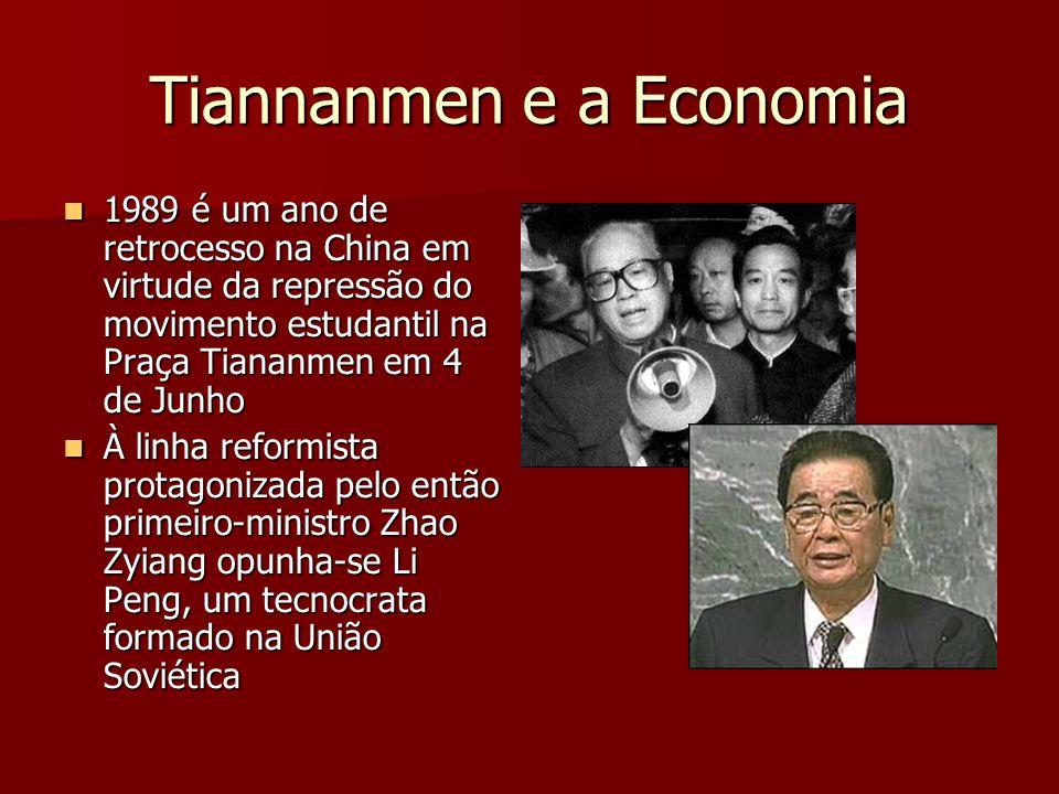 Tiannanmen e a Economia 1989 é um ano de retrocesso na China em virtude da repressão do movimento estudantil na Praça Tiananmen em 4 de Junho 1989 é um ano de retrocesso na China em virtude da repressão do movimento estudantil na Praça Tiananmen em 4 de Junho À linha reformista protagonizada pelo então primeiro-ministro Zhao Zyiang opunha-se Li Peng, um tecnocrata formado na União Soviética À linha reformista protagonizada pelo então primeiro-ministro Zhao Zyiang opunha-se Li Peng, um tecnocrata formado na União Soviética