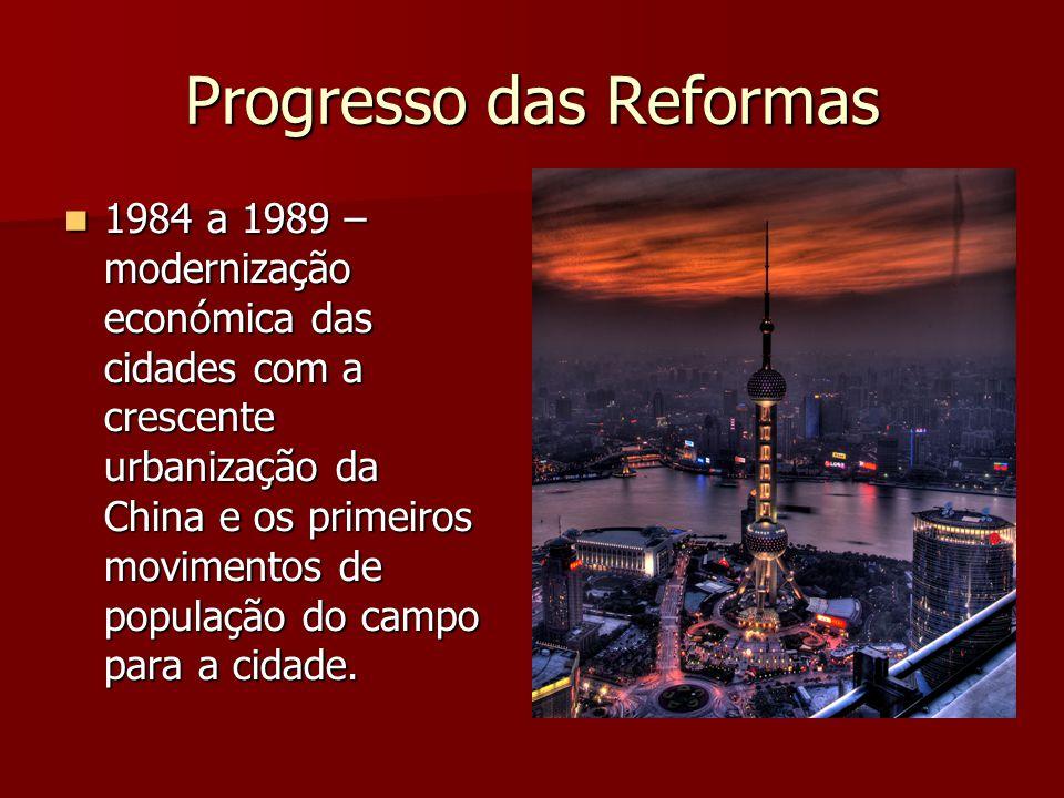Progresso das Reformas 1984 a 1989 – modernização económica das cidades com a crescente urbanização da China e os primeiros movimentos de população do campo para a cidade.