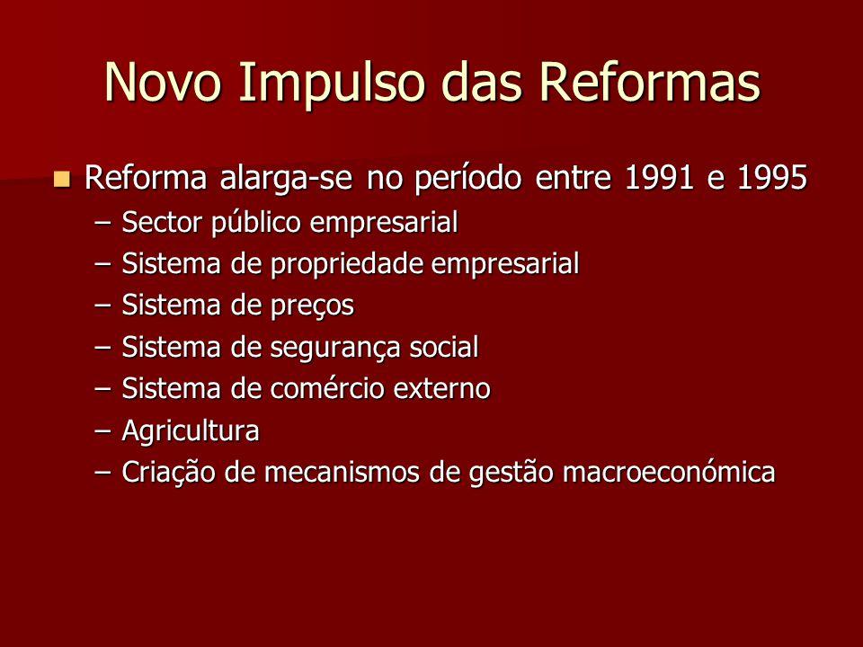Novo Impulso das Reformas Reforma alarga-se no período entre 1991 e 1995 Reforma alarga-se no período entre 1991 e 1995 –Sector público empresarial –Sistema de propriedade empresarial –Sistema de preços –Sistema de segurança social –Sistema de comércio externo –Agricultura –Criação de mecanismos de gestão macroeconómica