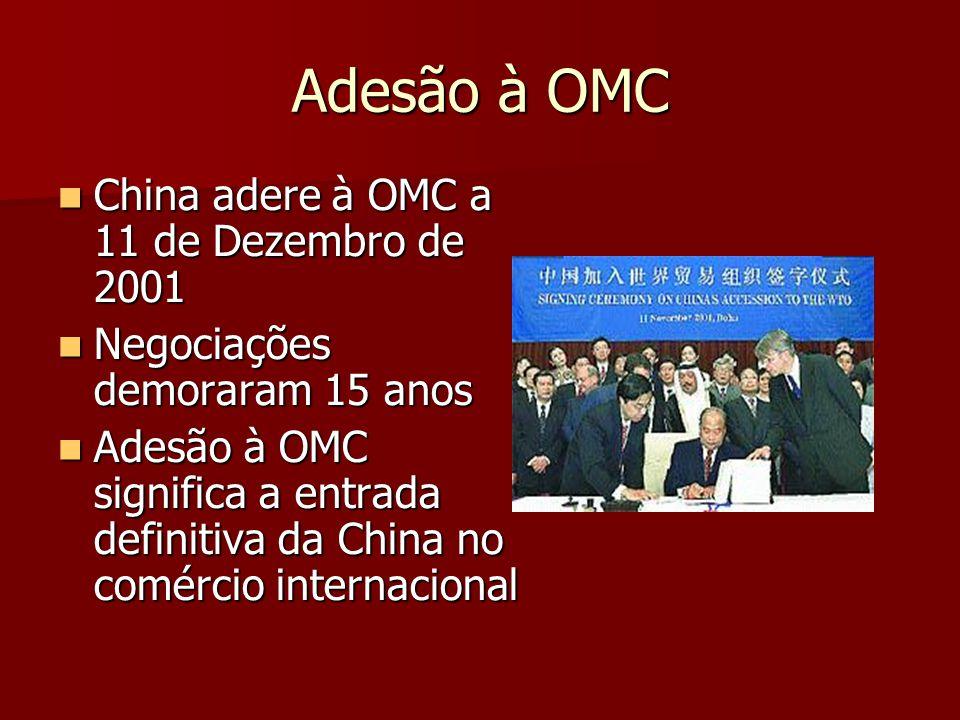Adesão à OMC China adere à OMC a 11 de Dezembro de 2001 China adere à OMC a 11 de Dezembro de 2001 Negociações demoraram 15 anos Negociações demoraram 15 anos Adesão à OMC significa a entrada definitiva da China no comércio internacional Adesão à OMC significa a entrada definitiva da China no comércio internacional