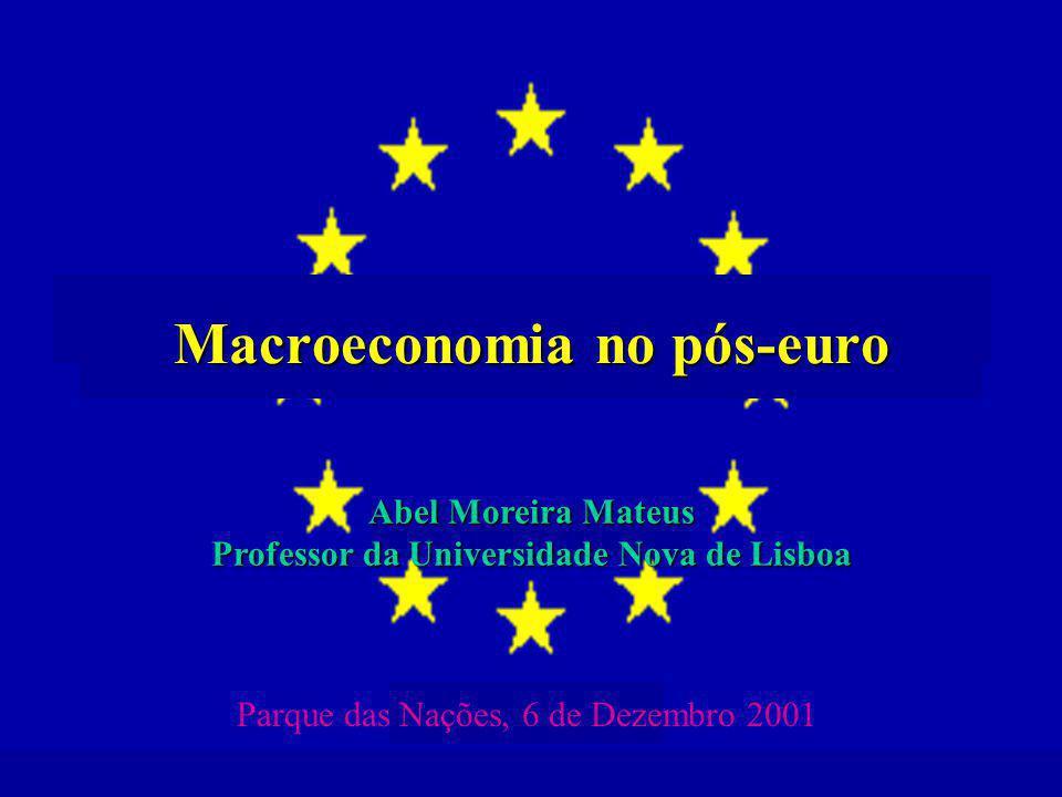 Macroeconomia no pós-euro Abel Moreira Mateus Professor da Universidade Nova de Lisboa Parque das Nações, 6 de Dezembro 2001