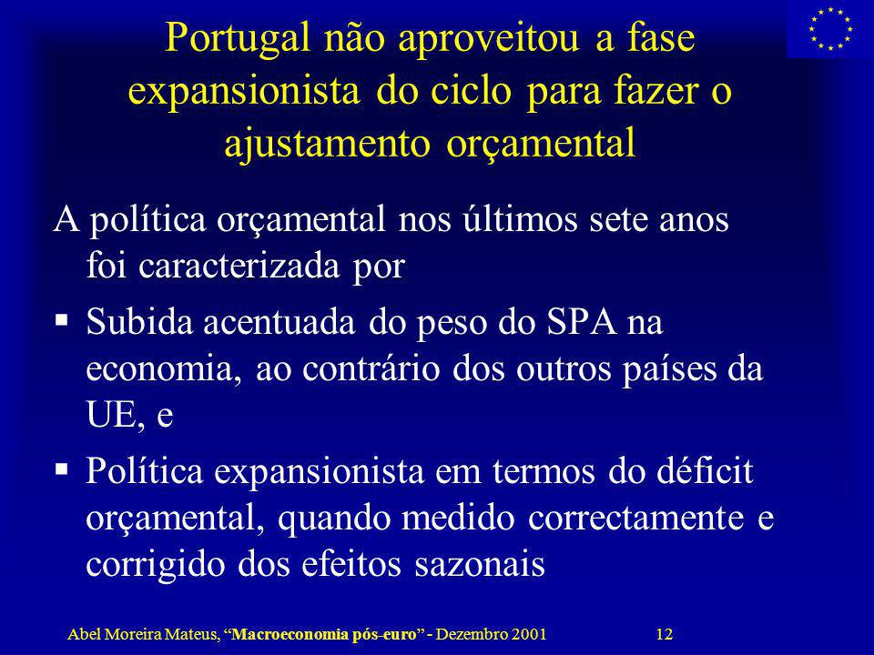 Abel Moreira Mateus, Macroeconomia pós-euro - Dezembro 2001 12 Portugal não aproveitou a fase expansionista do ciclo para fazer o ajustamento orçament