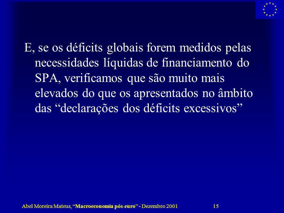 Abel Moreira Mateus, Macroeconomia pós-euro - Dezembro 2001 15 E, se os déficits globais forem medidos pelas necessidades líquidas de financiamento do
