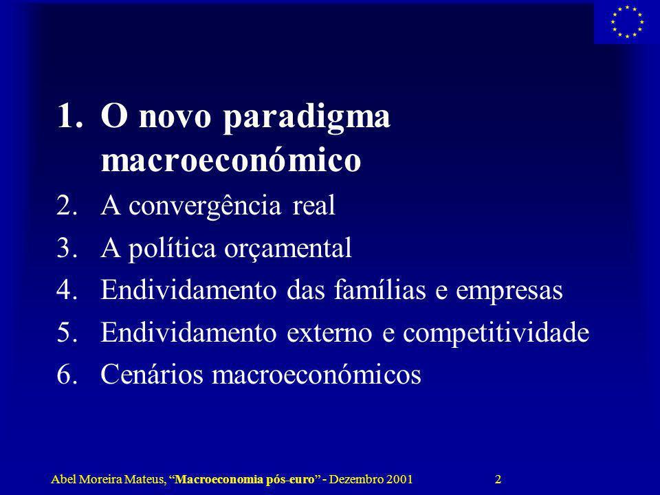 Abel Moreira Mateus, Macroeconomia pós-euro - Dezembro 2001 2 1.O novo paradigma macroeconómico 2.A convergência real 3.A política orçamental 4.Endivi