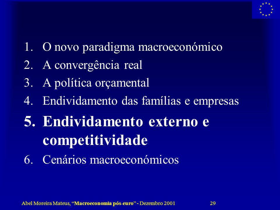 Abel Moreira Mateus, Macroeconomia pós-euro - Dezembro 2001 29 1.O novo paradigma macroeconómico 2.A convergência real 3.A política orçamental 4.Endiv
