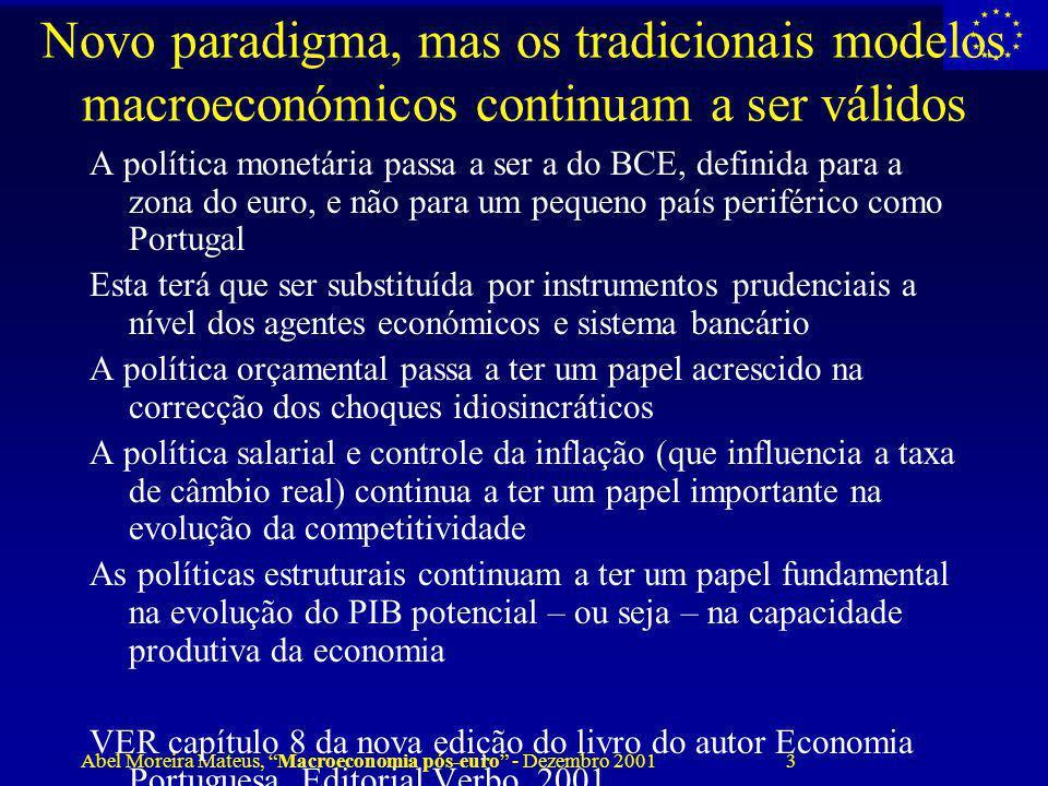 Abel Moreira Mateus, Macroeconomia pós-euro - Dezembro 2001 3 Novo paradigma, mas os tradicionais modelos macroeconómicos continuam a ser válidos A po