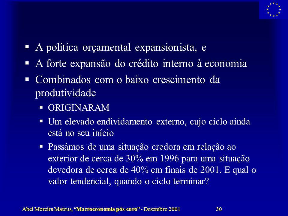 Abel Moreira Mateus, Macroeconomia pós-euro - Dezembro 2001 30 A política orçamental expansionista, e A forte expansão do crédito interno à economia C