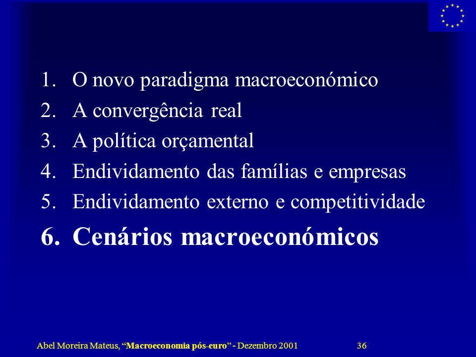 Abel Moreira Mateus, Macroeconomia pós-euro - Dezembro 2001 36 1.O novo paradigma macroeconómico 2.A convergência real 3.A política orçamental 4.Endiv