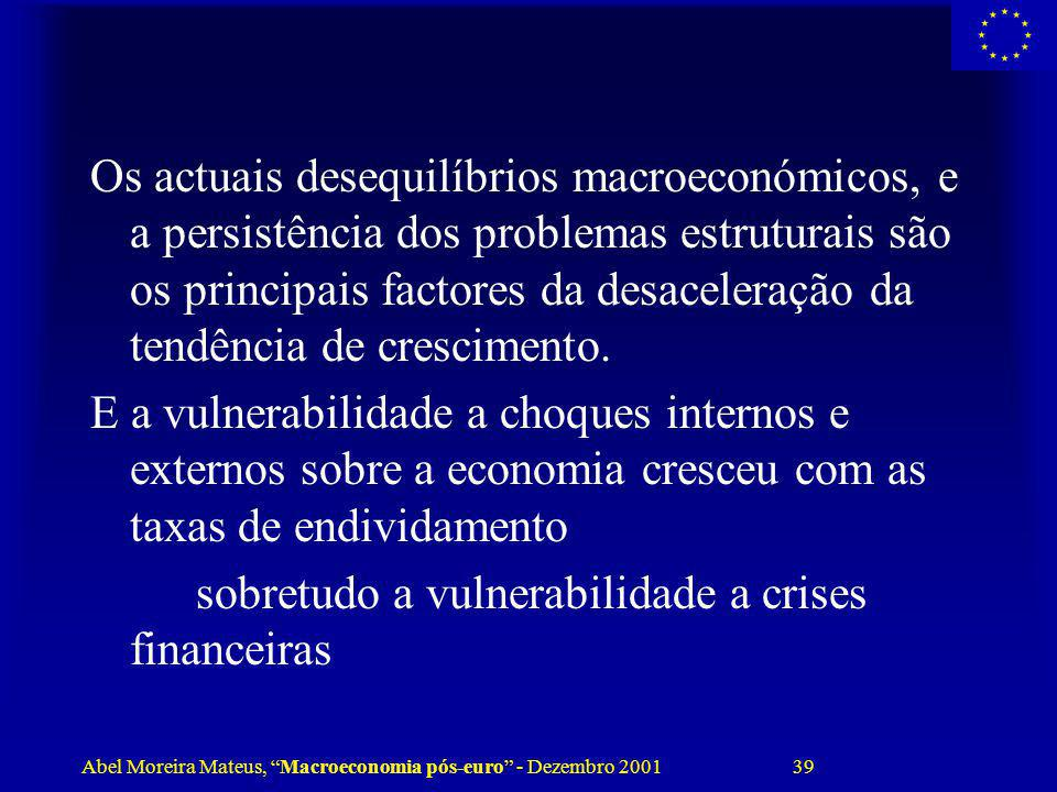Abel Moreira Mateus, Macroeconomia pós-euro - Dezembro 2001 39 Os actuais desequilíbrios macroeconómicos, e a persistência dos problemas estruturais s
