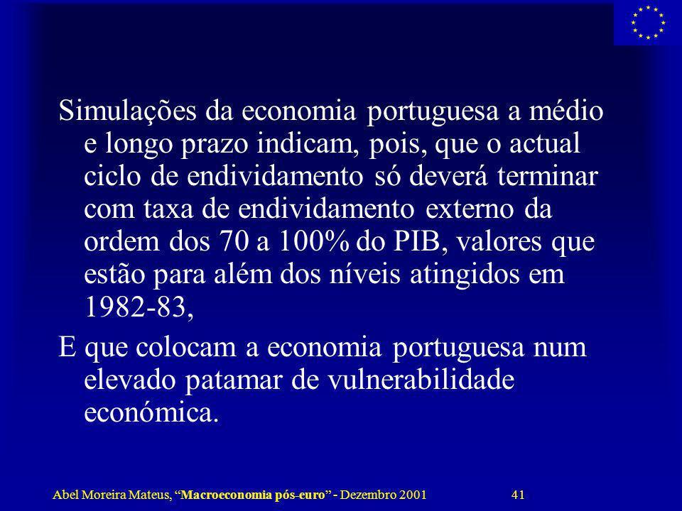 Abel Moreira Mateus, Macroeconomia pós-euro - Dezembro 2001 41 Simulações da economia portuguesa a médio e longo prazo indicam, pois, que o actual cic